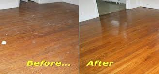Cleaned hardwood floors before and after view