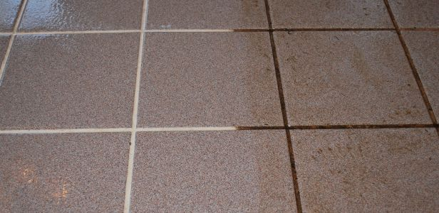 Tile and grout cleaned before and after