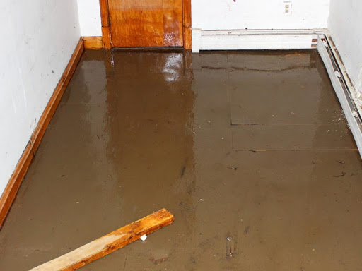 Water damage cleanup service, water in basement